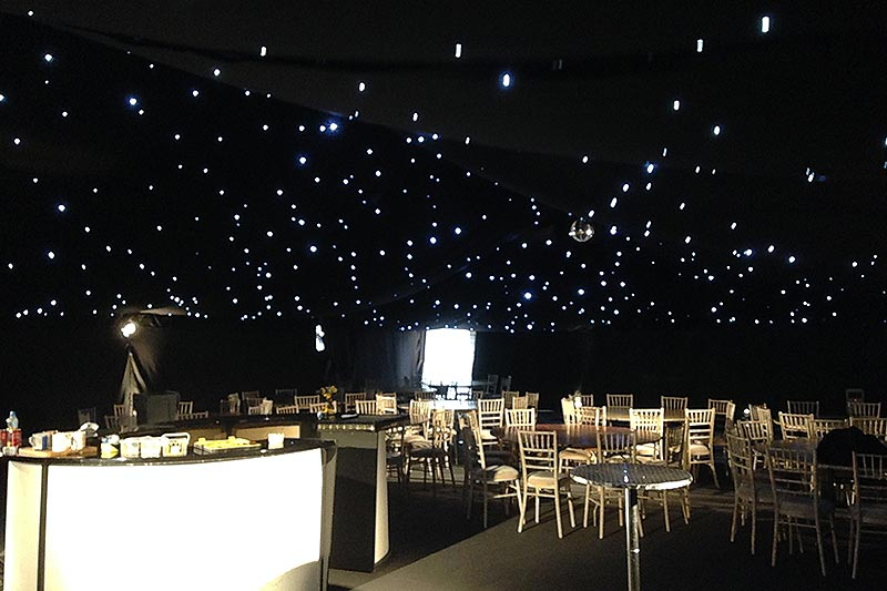 Marquee starlight linings and twinkly fairy lights | Lewis Marquees