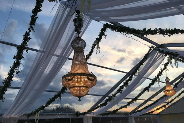 Clear roof marquee at sunset | Lewis Marquees