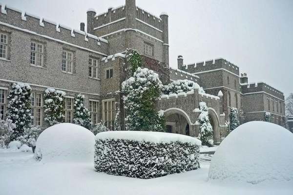 Winter venue West Dean College in snow, West Sussex | Lewis Marquees